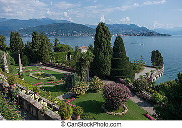 A masterpiece of landscape art. Beautiful park on the island of Isola Bella. Lake Maggiore, Northern Italy