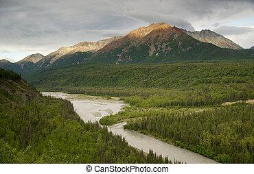a, matanuska, rio, cortes, através, madeiras, em, montanhas chugach, base, em, alasca