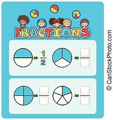 A math fractions worksheet illustration