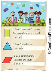 A Mathematics Worksheet Shapes Chapter illustration