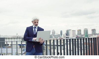 A mature businessman with laptop standing on a terrace, ...