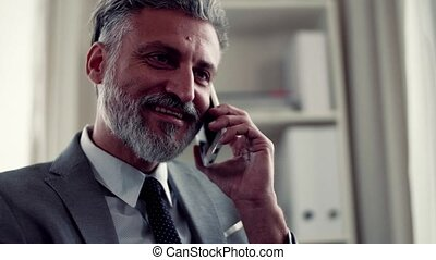 A mature businessman with smartphone making a phone call. -...