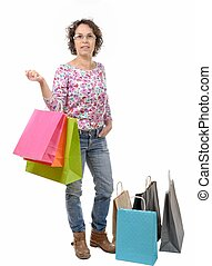 mature woman with eyeglasses went shopping on white...