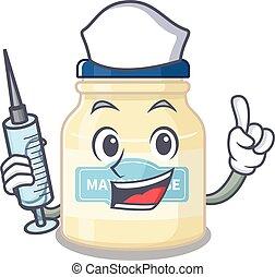A mayonnaise hospitable Nurse character with a syringe