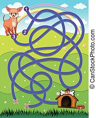A maze going to the doghouse