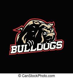 A mean looking cartoon bulldog with collar in sport vector logo style