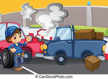 A mechanic boy near the cars bumping