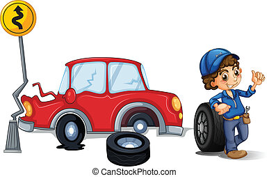 A mechanic near the car accident area