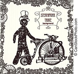 A mechanical man in a cylinder. Victorian era, steampunk style. Template steampunk design for card. Frame steampunk background - Vector