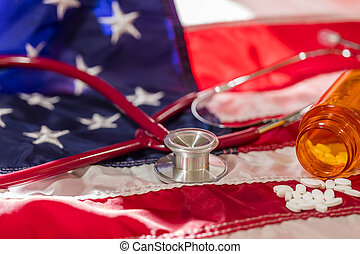 A Medical Stethoscope On An American Flag Representing Healthcare In the United States
