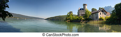 medieval castle on Annecy lake in Alpes mountains, France