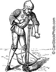 A medieval crossbowman soldier vintage engraving. Old engraved illustration of a crossbowman cranking his crossbow.