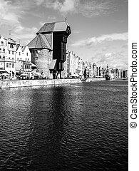 a, medieval, guindaste, em, gdansk, cidade, centro