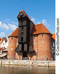 a, medieval, guindaste, em, gdansk, marina