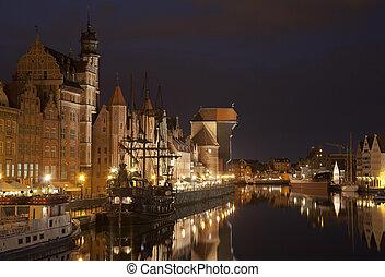 a, medieval, porto, guindaste, em, gdansk