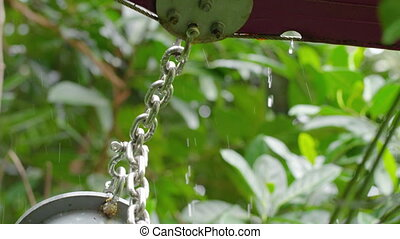 A medium shot of chain - A medium shot of a chain with rain...