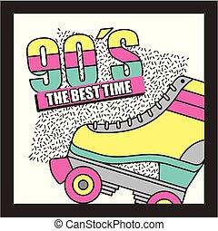 a, melhor, tempo, 90s, patim roller, abstratos, fundo