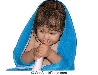 a, menina bebê, em, toalha, isolado