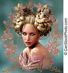a, menina, com, a, dourado, folhas, headdress, 3d, cg