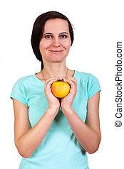 a, menina, em, um, t-shirt, segura, maçã, em, dois, mão