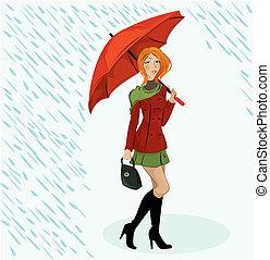 a, menina, inteligência, guarda-chuva