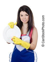 a, menina, lavagens, um, prato, isolado, branco, fundo