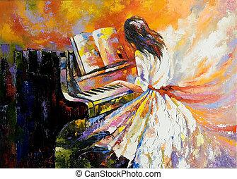 a, menina, tocando, ligado, a, piano