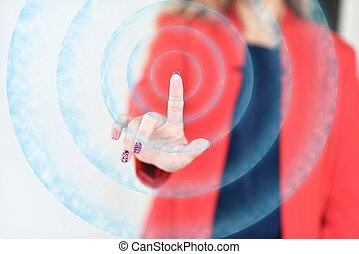 a, menina, vermelho, casaco, empurrões, dedo, virtual, botão