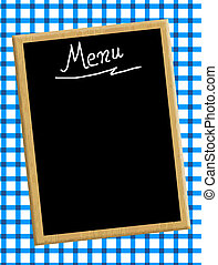 A menu card chalkboard on blue tablecloth background. Space...