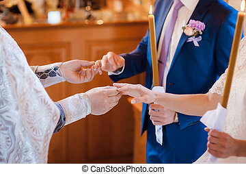 a, menyasszony inas, beszerez, egy, karika, alapján, a, lelkész
