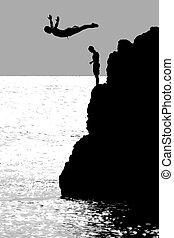 a, mergulhador penhasco