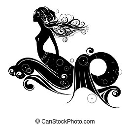 A mermaid silhouette isolated on a white background...