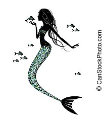 A mermaid  silhouette  with  a fish