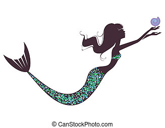 A mermaid  silhouette  with  a shell.Illusration