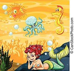 A mermaid under the sea