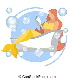 A mermaid woman is reading a book in the bathroom. In minimalist style. Flat isometric vector
