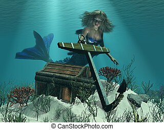 A Mermaid's Discovery - A mermaid discovers a pirate's...