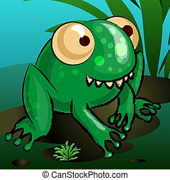 A merry cartoon frog is sitting on a swamp. Vector