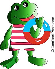 A merry frog with a bathing circle in his hand, a cartoon on a white background.