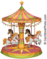 A merry-go-round horse ride