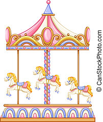 A merry-go-round rotating ride - Illustration of a...