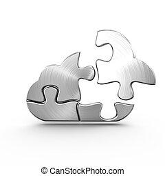 A metal cloud computing jigsaw with a detached piece
