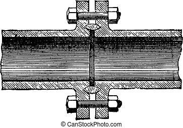 A metal gasket, vintage engraving. - A metal gasket, vintage...
