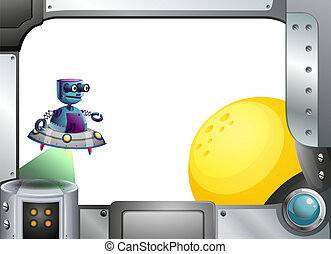 A metallic frame with a robot and a sun - Illustration of a...