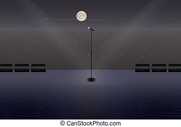 A microphone on a stage in the open air.