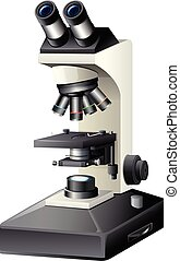 A microscope on white background