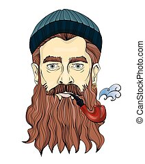 A middle-aged man with a beard smoking a pipe. The sailor or fisherman in a knitted hat. Vector portrait illustration, isolated on white.