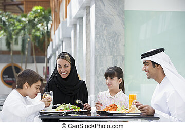 A Middle Eastern family enjoying a meal in a restaurant