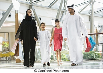 A Middle Eastern family in a shopping mall