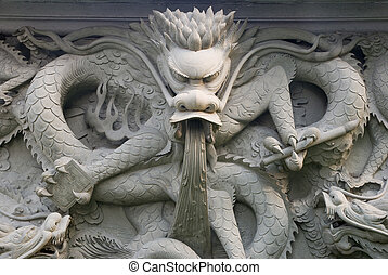 a mighty stone carving dragon